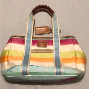 Coach small tote, pastel stripes